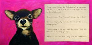 Chihuahua with a Blind Man in a Restaurant by Cathy Cute