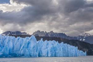 Chile, Patagonia, Torres del Paine NP. Blue Glacier and Mountains by Cathy & Gordon Illg