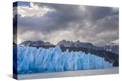 Chile, Patagonia, Torres del Paine NP. Blue Glacier and Mountains