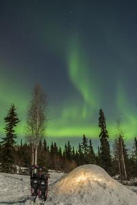 USA, Alaska, Fairbanks. a Quinzee Snow Shelter and Aurora Borealis by Cathy & Gordon Illg