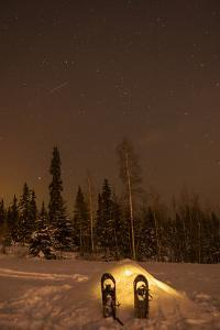 USA, Alaska, Fairbanks. a Quinzee Snow Shelter under the Night Sky by Cathy & Gordon Illg