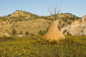 USA, South Dakota, Wild Horse Sanctuary. Scenic with Teepee by Cathy & Gordon Illg