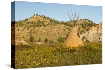 USA, South Dakota, Wild Horse Sanctuary. Scenic with Teepee