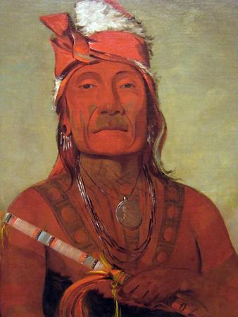 Catlin Native American With Tomahawk