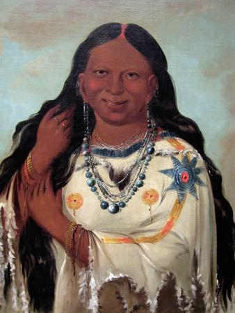 George Catlin- Kay-A-Gis-Gis, A Young Woman; A Beautiful Young Woman Pulling Her Hair Out Of Braid