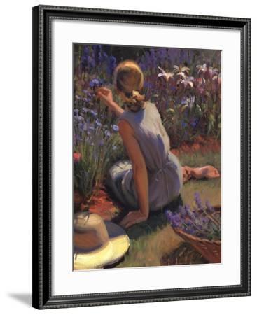 Catmint & Cornflowers-Thomas J. Larson-Framed Art Print