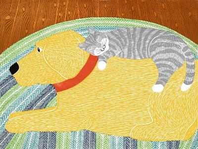 Catnap Yellow Dog Gray Stripped Cat-Stephen Huneck-Giclee Print