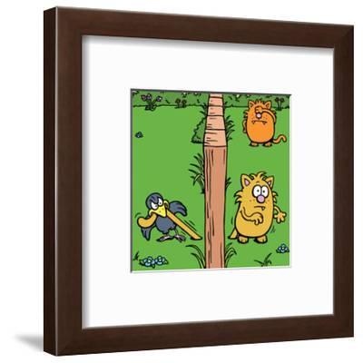 Cats and Bird - Antony Smith Learn To Speak Cat Cartoon Print-Antony Smith-Framed Art Print
