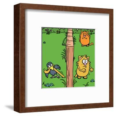 Cats and Bird - Antony Smith Learn To Speak Cat Cartoon Print-Antony Smith-Framed Art Print