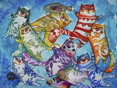 Cats and Fish-Oxana Zaika-Giclee Print