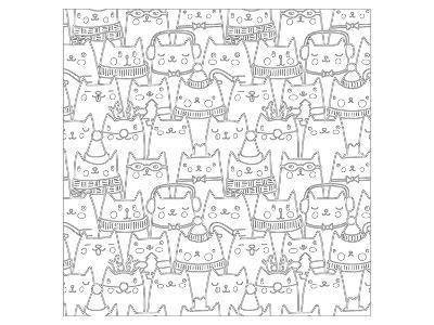 Cats Coloring Art--Coloring Poster