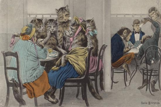 Cats Drinking Tea and Monkeys Playing Cards--Giclee Print