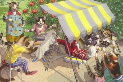 Cats Falling Off a Swing Bench--Giclee Print