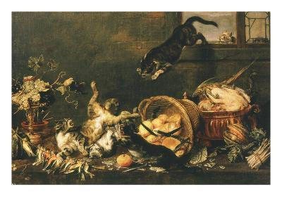 Cats Fighting in Pantry-Paul De Vos-Giclee Print