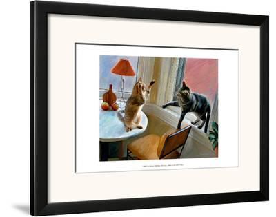 Cats Fighting-Robert Mcclintock-Framed Art Print
