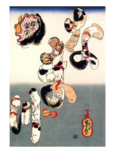 Cats Forming the Characters for Catfish-Kuniyoshi Utagawa-Giclee Print