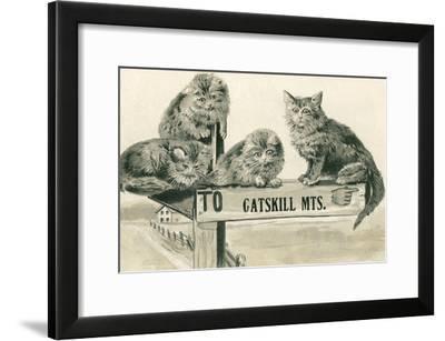Cats on Catskill Mts. Sign--Framed Art Print