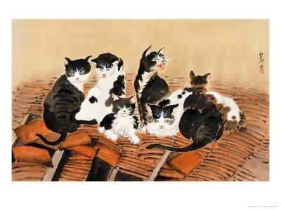 Cats on Roof-Lu Bisa-Giclee Print