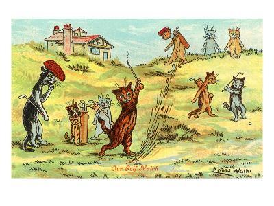 Cats Playing Golf--Art Print
