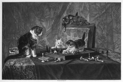 Cats Playing with a Chessboard- Goupil and Co-Giclee Print