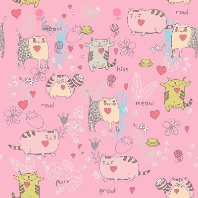 Cats Seamless Pattern in Doodle Style. Cat and Kitten-Tatsiana Tsyhanova-Art Print