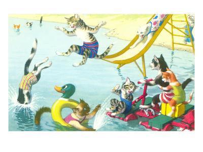 Cats Sliding into Swimming Pool--Art Print