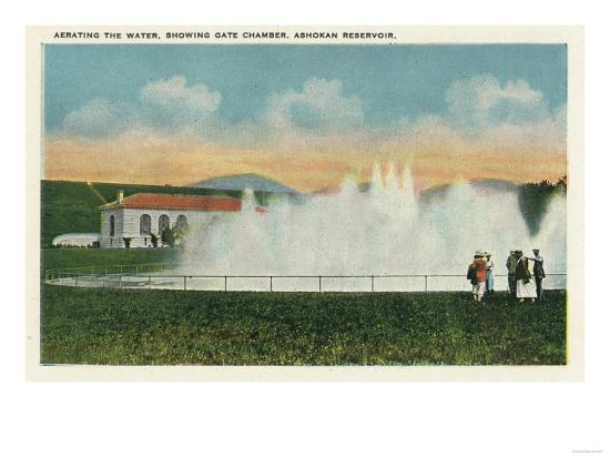 Catskill Park, New York - Aerating the Water at Ashokan Reservoir-Lantern Press-Art Print