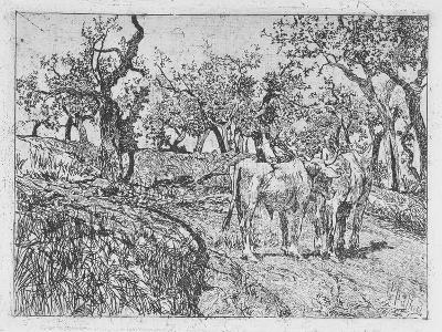 Cattle Amongst Olive Trees-Giovanni Fattori-Giclee Print