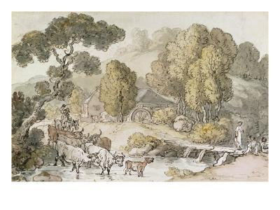 Cattle and Drover Fording a Stream-Thomas Rowlandson-Giclee Print