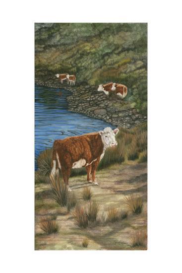 Cattle by the River-Jacquie Vaux-Art Print