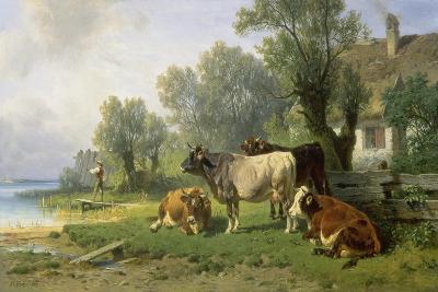 Cattle in a Farmyard Along a River with a Fisherman Beyond, 1881-Johann Friedrich Voltz-Giclee Print