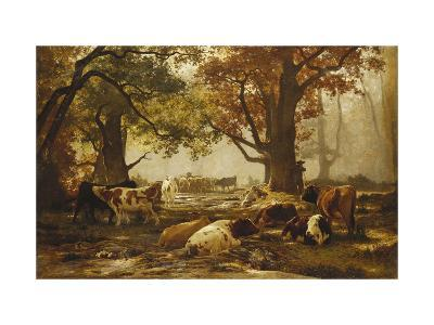 Cattle in a Wooded River Landscape-Auguste Francois Bonheur-Giclee Print