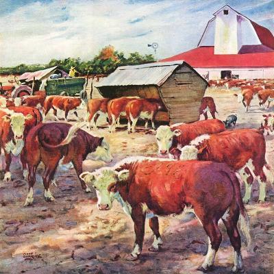 """Cattle in Barnyard,""October 1, 1945-Matt Clark-Giclee Print"
