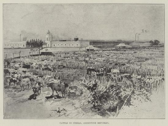 Cattle in Corral, Argentine Republic-Henry Charles Seppings Wright-Giclee Print