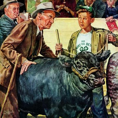 """Cattle Judging,""November 1, 1946-W^C^ Griffith-Giclee Print"