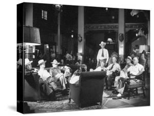 Cattle Men and Natives of San Angelo Sitting in the Lobby of the Cactus Hotel