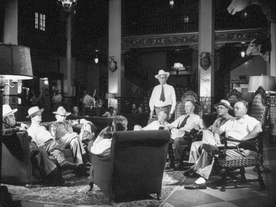 Cattle Men and Natives of San Angelo Sitting in the Lobby of the Cactus Hotel--Photographic Print