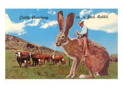 Cattle Punching on a Giant Jack Rabbit--Art Print