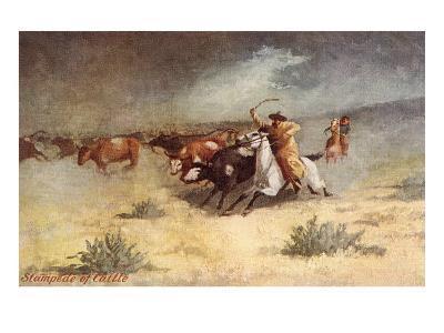Cattle Stampede on the Range--Art Print