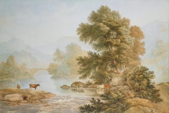 Cattle Watering at a River-John Glover-Giclee Print