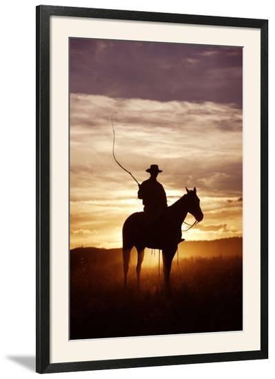Cattleman Riding Quarter, Paint Horse at Sunset--Framed Photographic Print