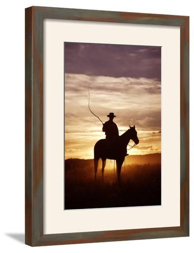 Cattleman Riding Quarter, Paint Horse at Sunset--Framed Photographic Print