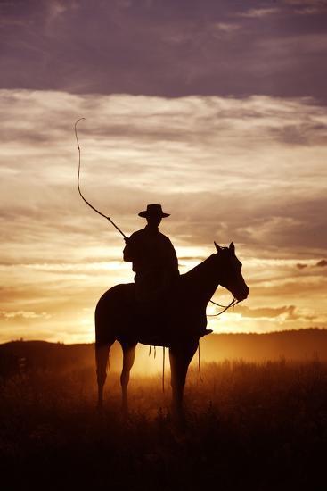 Cattleman Riding Quarter, Paint Horse at Sunset--Photographic Print