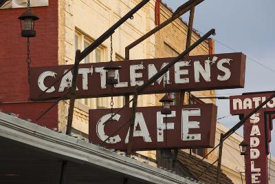 Cattlemen's Cafe Restaurant Sign, Oklahoma City, Oklahoma, USA-Walter Bibikow-Photographic Print
