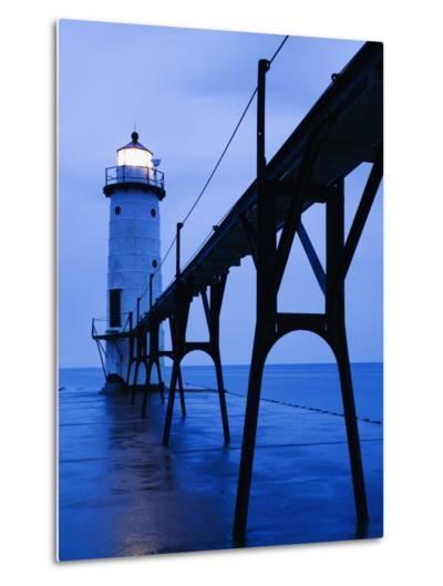 Catwalk to Door of Lighthouse-Walter Bibikow-Metal Print
