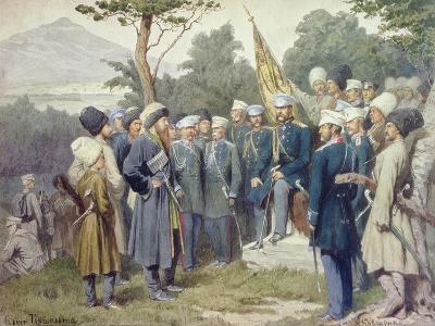 Caucasian Leader Shamil (circa 1798-1871) Surrendering to Count Baryatinsky in 1859, 1880-Aleksei Danilovich Kivshenko-Giclee Print