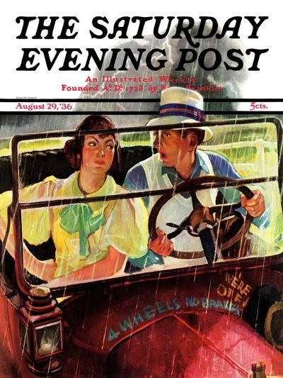 """""""Caught in the Rain,"""" Saturday Evening Post Cover, August 29, 1936-Albert W^ Hampson-Giclee Print"""
