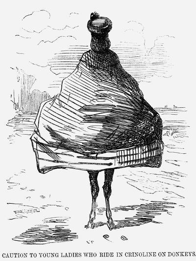 Caution to Young Ladies Who Ride in Crinoline on Donkeys, 1860--Giclee Print