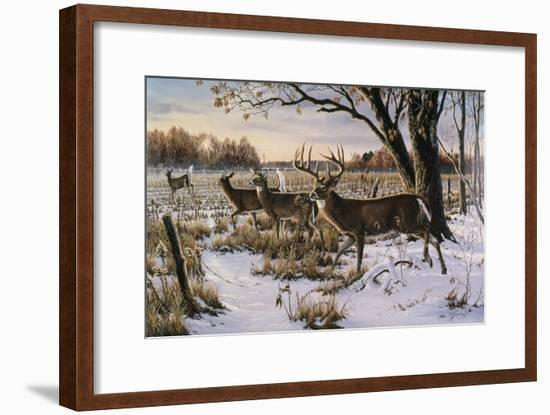Cautious Crossing - Whitetails-Wilhelm Goebel-Framed Giclee Print