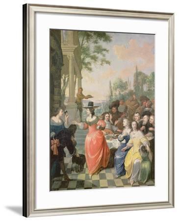 Cavaliers and Ladies on a Balcony before Dancing Figures-Hiroka Ya-Kosuke-Framed Giclee Print